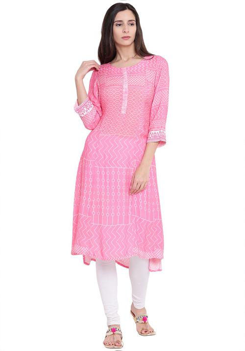 Rangriti Pink Wool A-Line Kurta