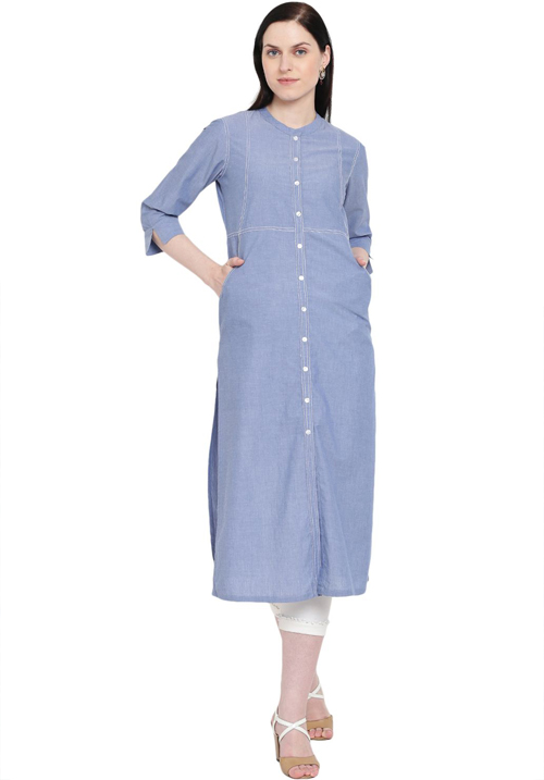 Rangriti Light Blue Chambray Kurta