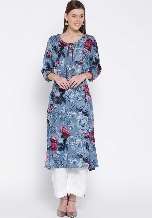 Shree Printed Straight Blue Kurta