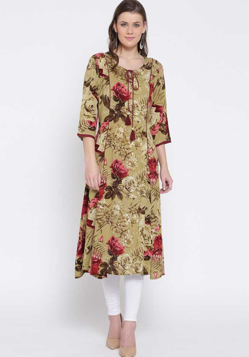 Shree Printed Straight Olive Kurta