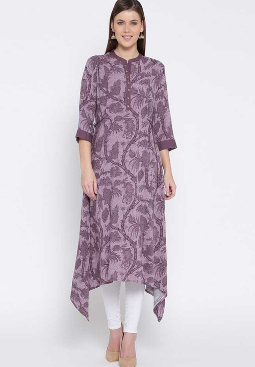 Shree Floral Printed Purple Kurta