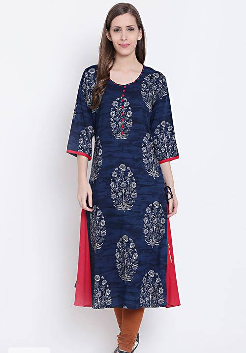 Shree Bedazzling Navy Floral Kurti