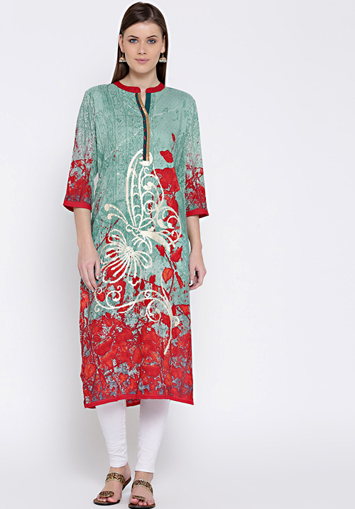 Shree Abstract Green-Red Kurta