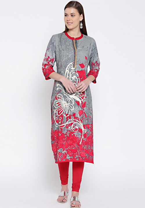 Shree Abstract Gray-Red Kurta
