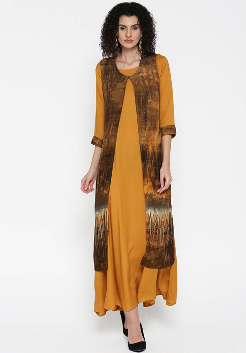 Shree Maxi Mustard-Brown Dress