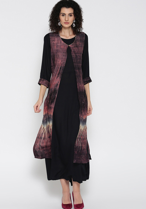 Shree Maxi Black-Wine Dress