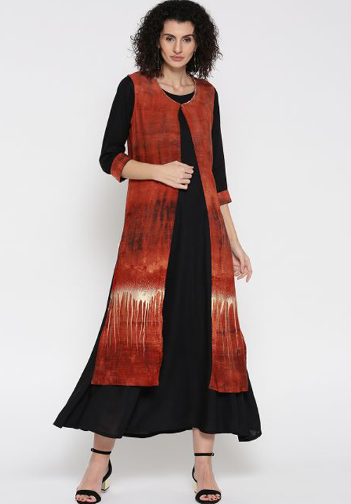 Shree Maxi Black-Rust Dress