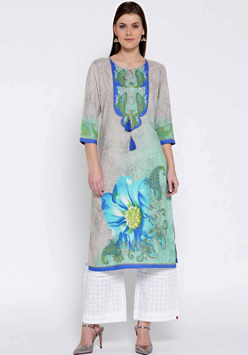 Shree Printed Flower Blue Kurta