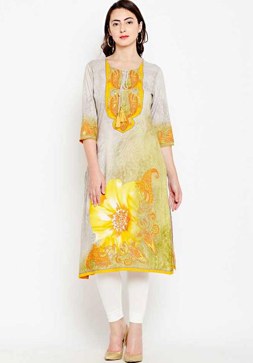 Shree Printed Flower Mustard Kurta