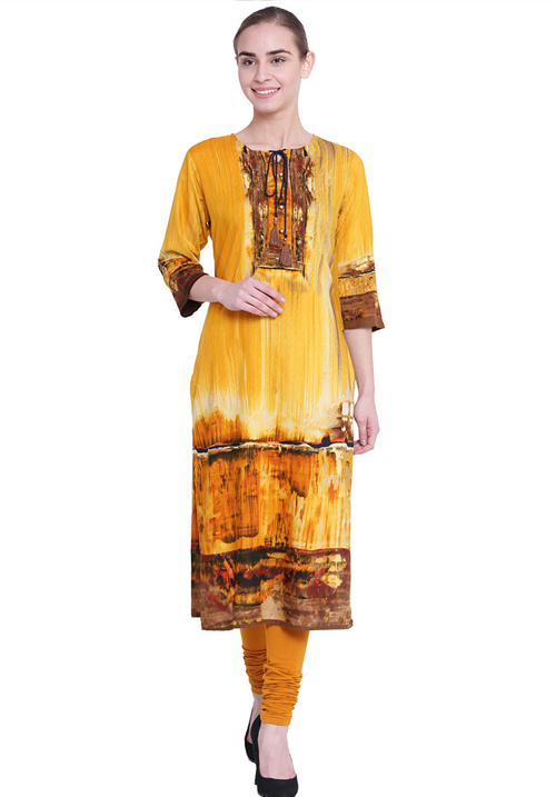 Shree Alluring Yellow Printed Kurta