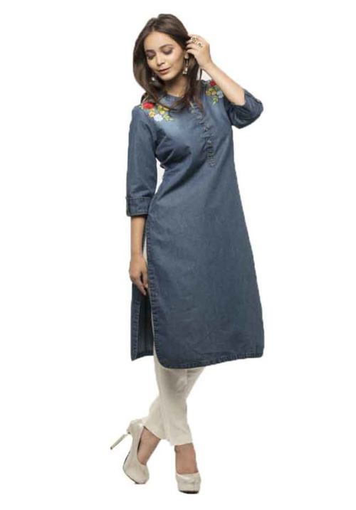 Etiquette Blue Printed Denim Kurti FW33