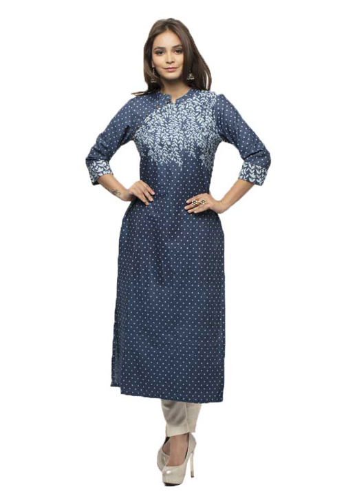 Etiquette Denim Blue Straight Kurta FW51
