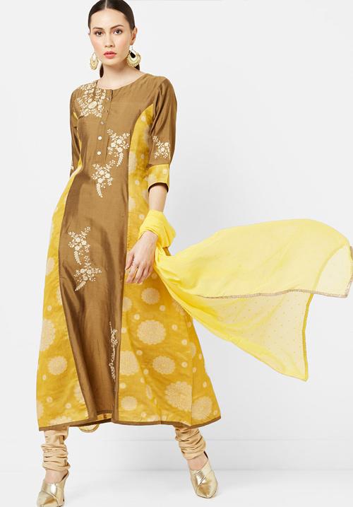 Etiquette Yellow Silk Kurti Fw03