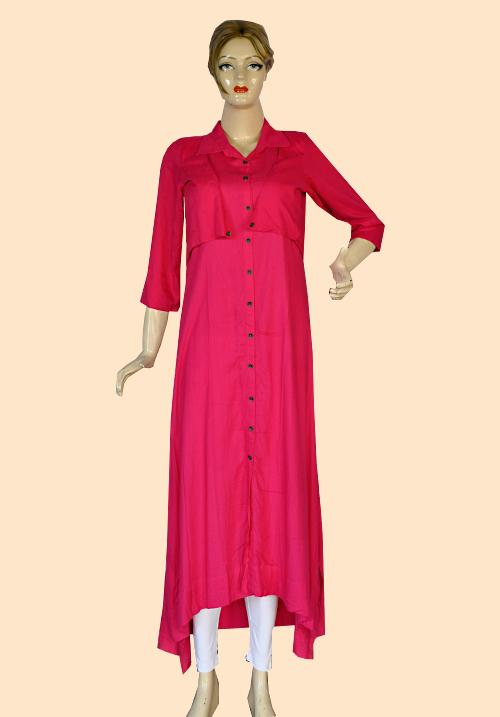 Femigo Pink Cotton Kurta FDN5396
