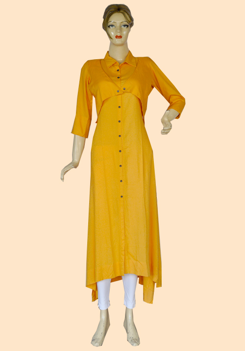 Femigo Yellow Cotton Kurta FDN5396