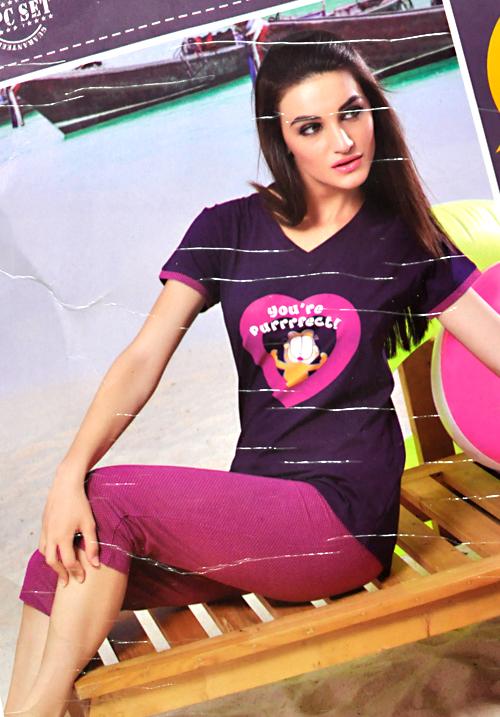 Valentine Purple Capri night suit