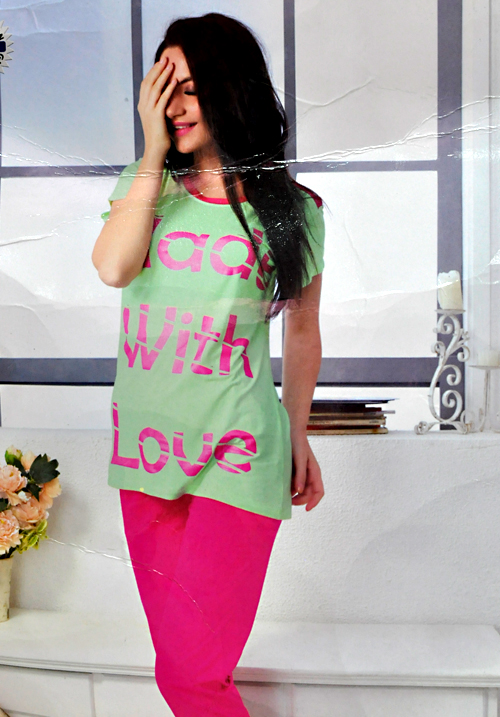 Valentine Capri Green Night Suit