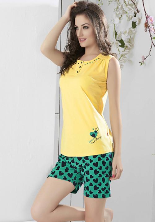 Valentine Yellow Shorts Night Suit