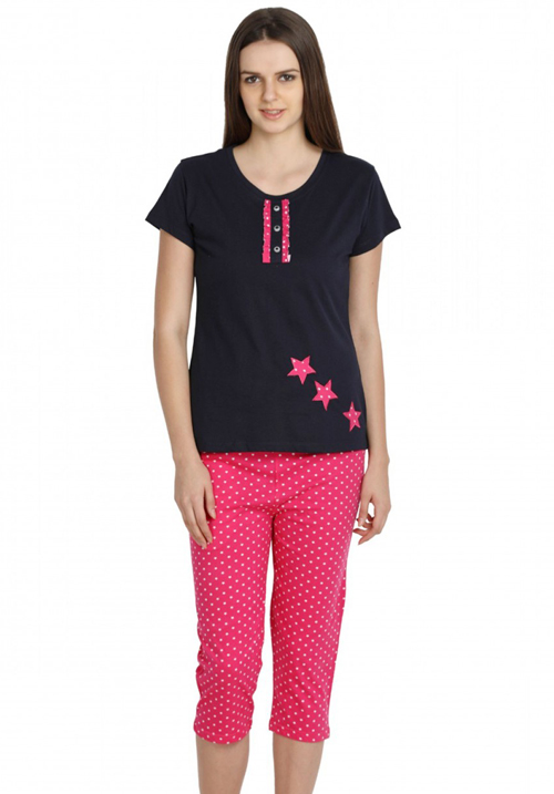 Valentine Black-Pink Capri night suit