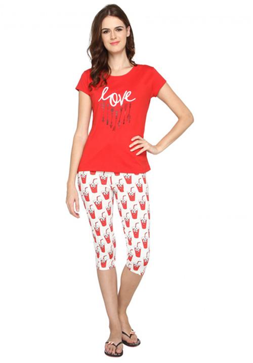 Valentine Red Capri Night Suit