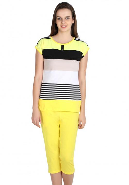 Valentine Yellow Capri Night Suit