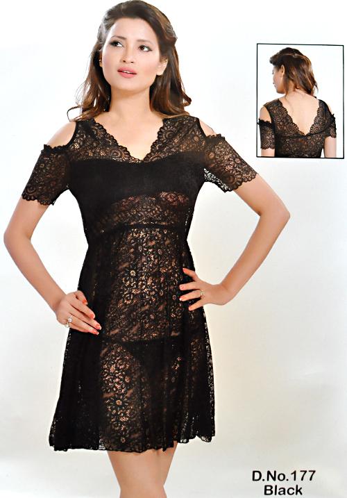 Angelina Black Bridal Nighties 177