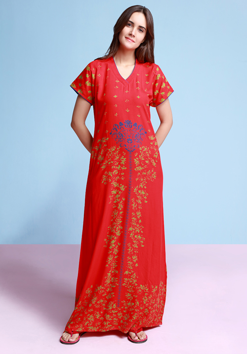 July Red Color Full Nighty JJN120