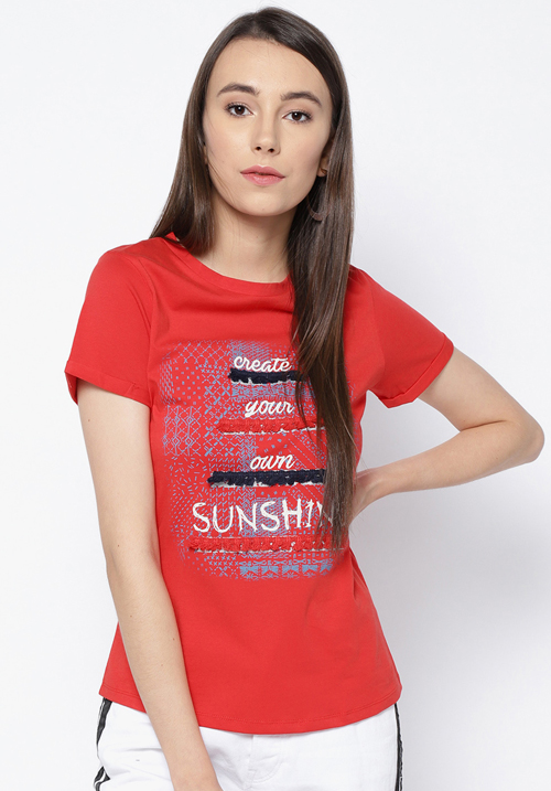 Opt Red Printed Top