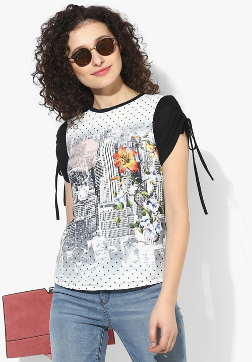 Opt Black Printed Blouse Top