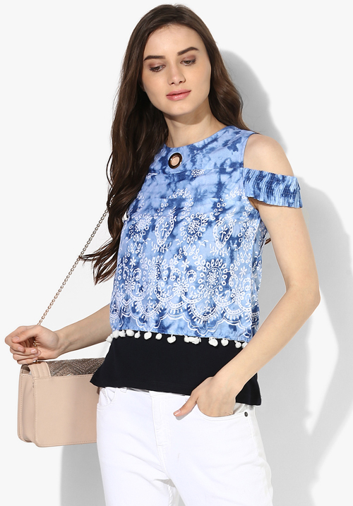 Opt Blue Printed Blouse Top