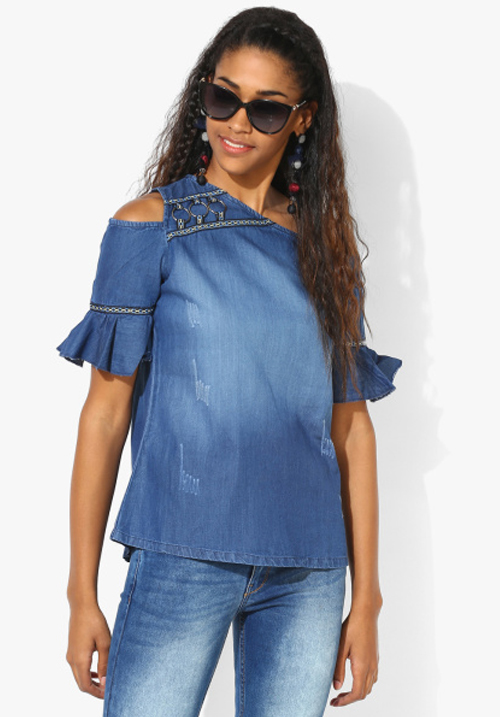 Opt Blue Washed Blouse Top