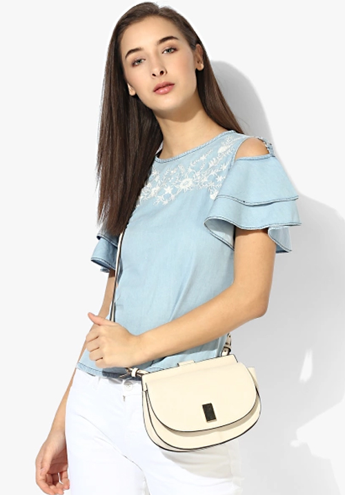 Opt Navy Blue Embroidered Top