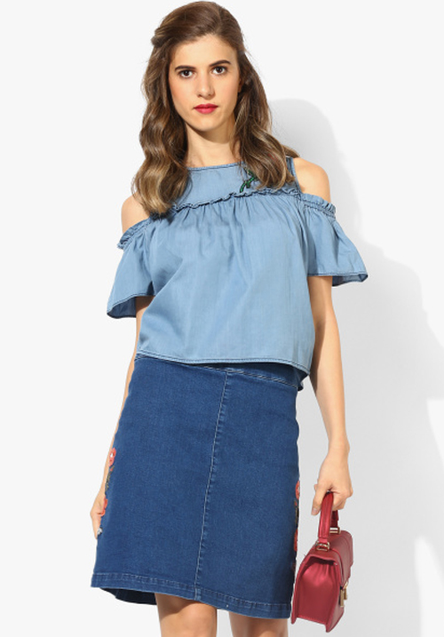 Opt Light Blue Embroidered Blouse