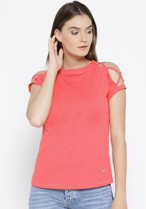 Opt Pink Self Design Blouse Top