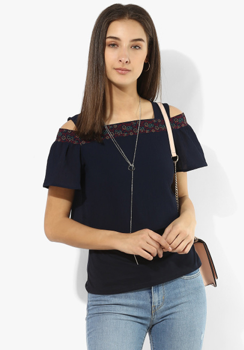 Opt Navy Blue Blouse Top