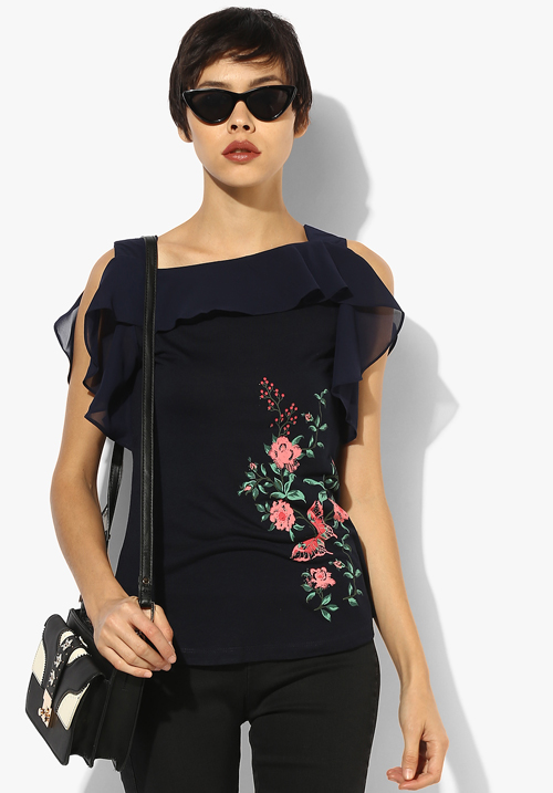 Opt Navy Blue Printed Blouse