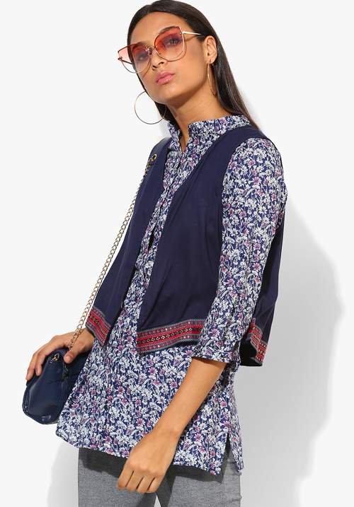 Opt Navy Printed with Jacket