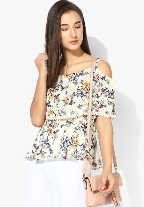 Opt Off White Printed Blouse