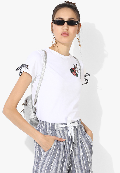 Opt White Printed Blouse Top