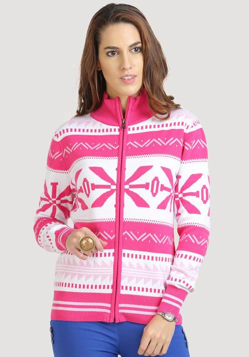Moda Zipper Hooded Sweatshirt 1068 Pink