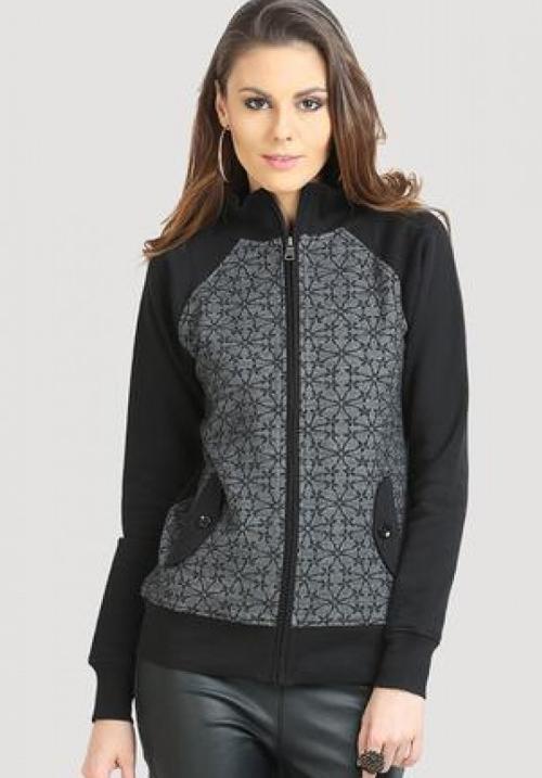 Moda Zipper Hooded Sweatshirt 1627 Black
