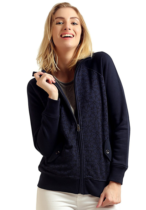 Moda Zipper Hooded Sweatshirt 1627 Navy