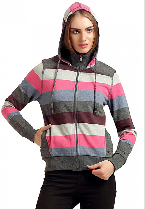 Moda Zipper Hooded Sweatshirt 1645