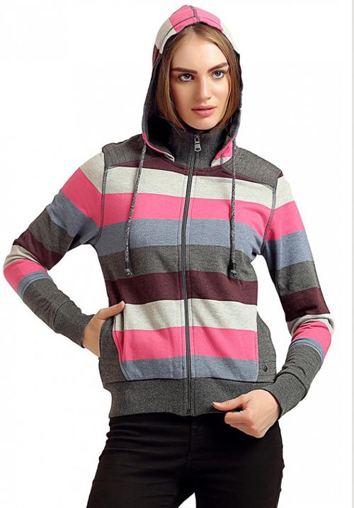 Moda Zipper Hooded Sweatshirt 1645