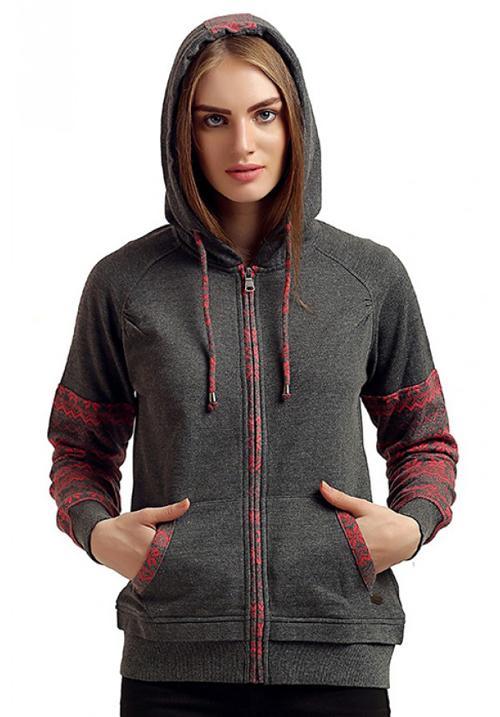 Moda Zipper Hooded Sweatshirt 1653