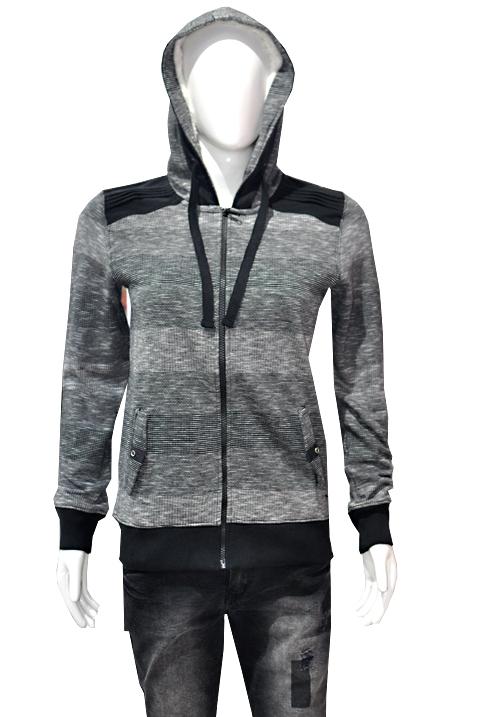 Moda Zipper Hooded Sweatshirt 1656 Black