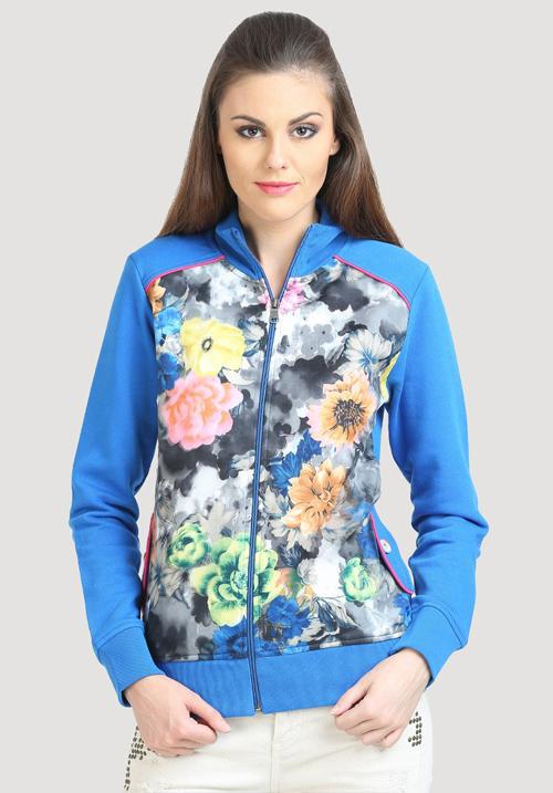 Moda Zipper Hooded Sweatshirt 1669 Blue