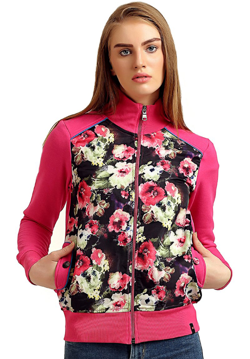 Moda Zipper Hooded Sweatshirt 1669 Pink
