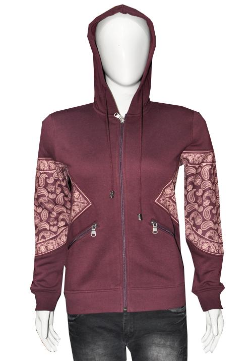 Moda Zipper Hooded Sweatshirt 4303 Wine