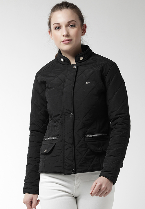 Okane Quilted Black Solid Jacket